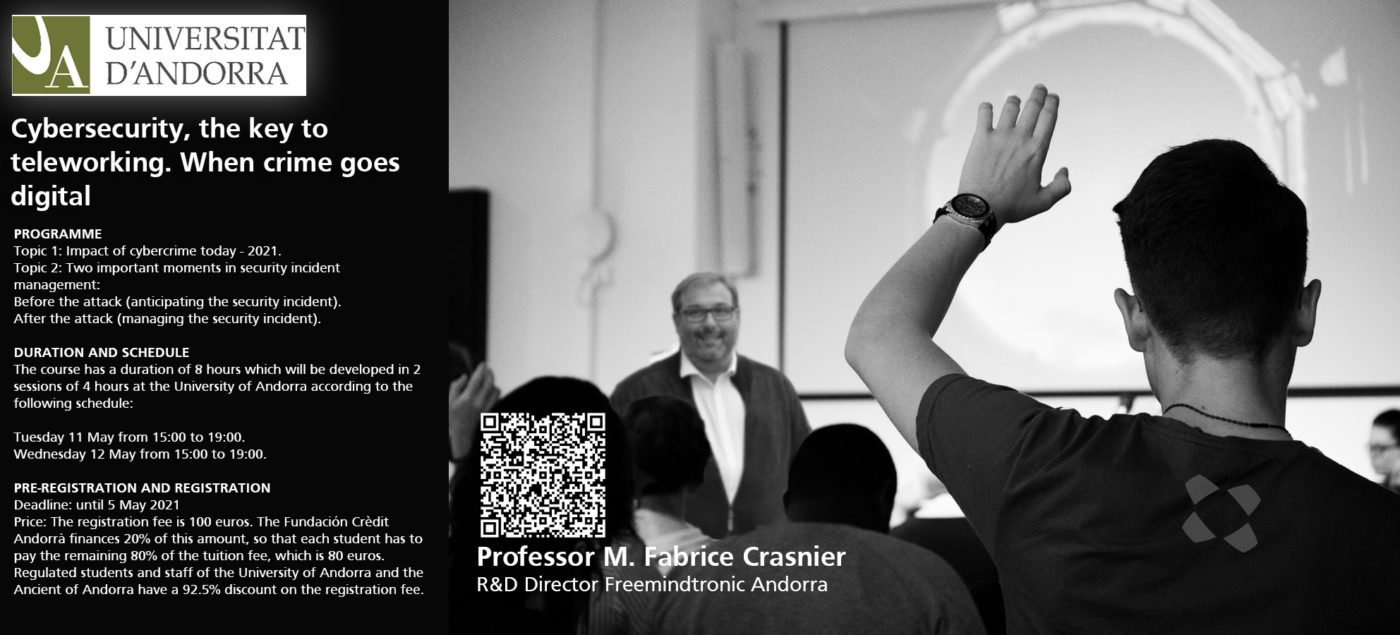 EviCypher Universitat Andorra Training Cybersecurity Fabrice Crasnier director research development Freemindtronic Andorra 11 12 May 2021
