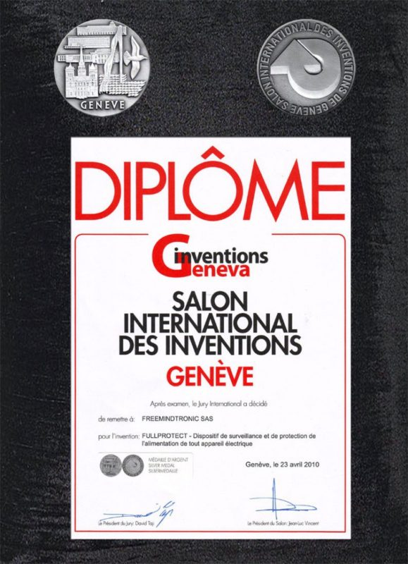 Award 2010 Silver Medal International Inventions Geneva Fullprotect by Freemindtronic Andorra Jacques Gascuel