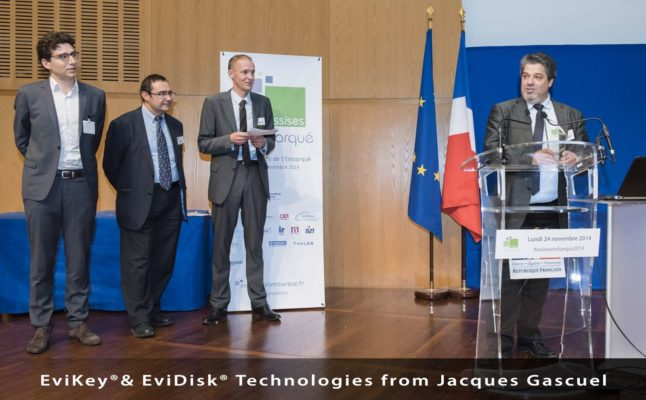 NFC hardened USB stick EviKey & NFC hardened EviDisk unlockable contactless via nfc phone Award 2014 embedded system Bercy Paris from Jacques Gascuel by Freemindtronic Andorra