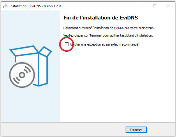 EviDNS ZeroConf add firewall exception software by Freemindtronic