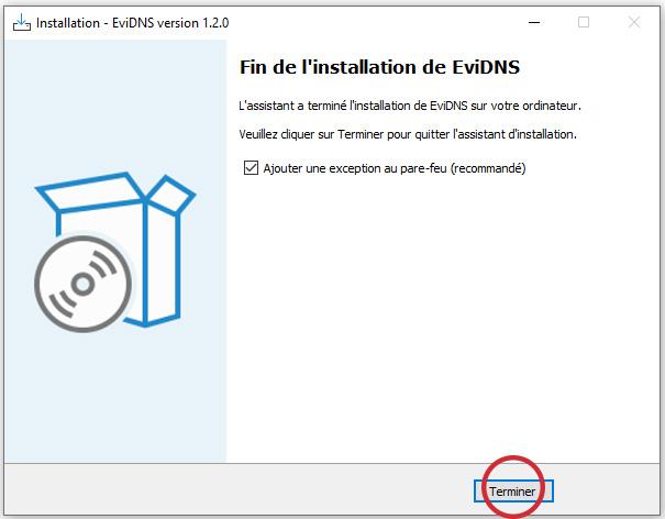 EviDNS ZeroConf finish installation software by Freemindtronic