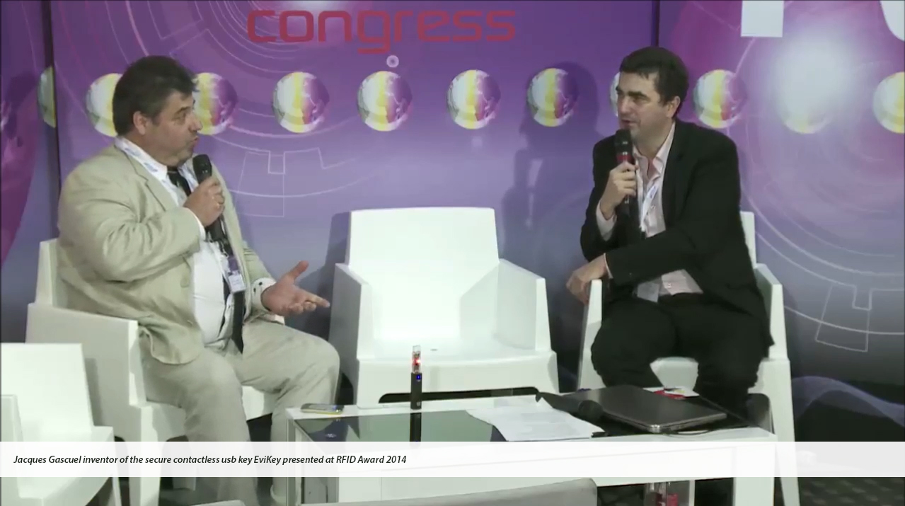 RFID Award 2014 Interview Jacques Gascuel presents EviKey NFC Rugged USB stick secured unlocked contactless